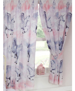Stardust Unicorn Lined Curtains - Lilac and Pink
