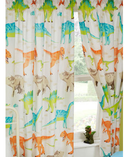 "Dinosaur World Lined Curtains 54"" Drop"