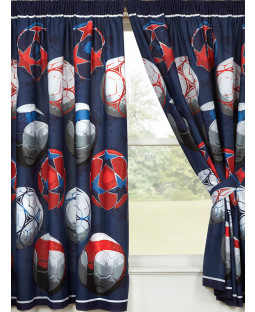 "Blue Football Themed Lined Curtains 72"" Drop"