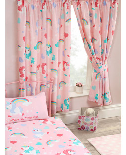 "I Believe In Unicorns Lined Curtains 54"" Drop"
