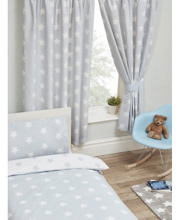 """Grey and White Stars Lined Curtains 72"""" Drop"""