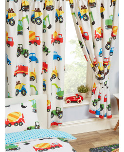 """Trucks and Transport Lined Curtains 54"""" Drop"""