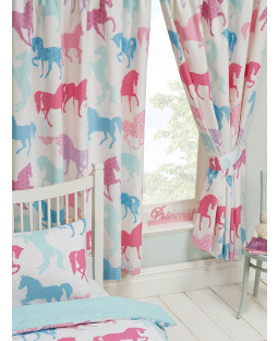 "Patchwork Ponies Lined Curtains 54"" Drop"