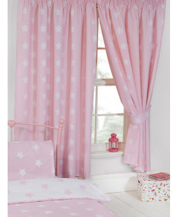 Pink and White Stars Lined Curtains 168cm x 137cm