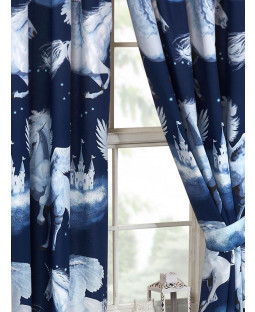 Stardust Unicorn Navy Blue Lined Curtains