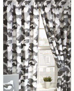"Grey Army Camouflage Lined Curtains 54"" Drop"