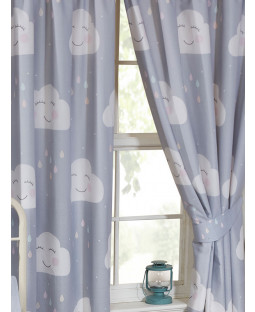 "Happy Clouds Lined Curtains 54"" Drop"