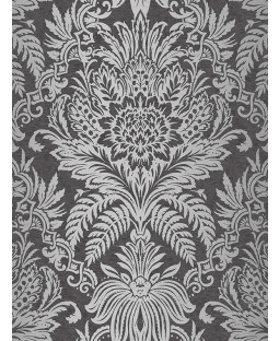 Crown Signature Damask Wallpaper Ebony M1065