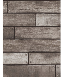 Dark Brown and Charcoal Wooden Plank Effect Wallpaper - Fine Decor