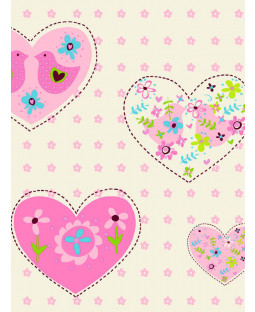 Hearts and Birds Wallpaper - Pink - 6340