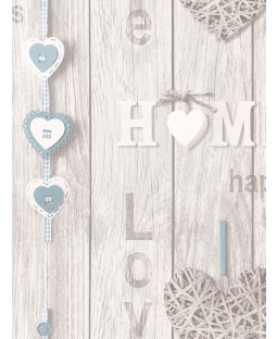 Fine Decor Love Your Home Wallpaper - Blue FD41719