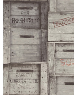 Fine Decor Wood Crates Wallpaper - Grey FD40944