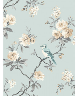Chinoiserie Bird Wallpaper - Duck Egg Blue - FD40765 Fine Decor