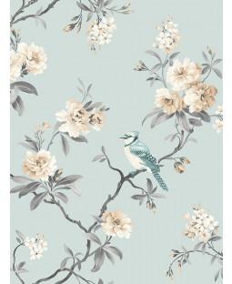 Chinoiserie Bird Wallpaper - Duck Egg Blue - FD40765 Fine Decor