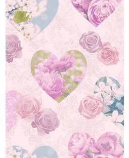 Floral Hearts Wallpaper - Lilac - Fine Decor FD41913