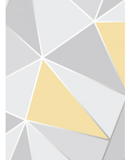 Apex Geometric Wallpaper Yellow and Grey Fine Decor FD41991