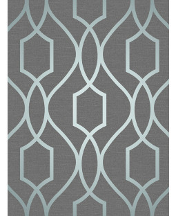 Slate Grey and Blue Apex Geometric Trellis Wallpaper Fine Decor FD41996