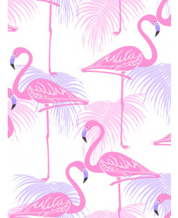 Pink and Lilac Flamingo and Palm Leaves Wallpaper Fine Decor FD42214