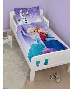 Disney Frozen Snowflake 4 in 1 Toddler Bedding Bundle Set (Duvet, Pillow and Covers)