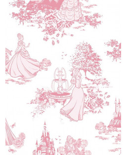 Disney Princess Pink and White Toile De Jouy Wallpaper (70-233)