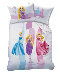 Disney Princess Ribbons Single Duvet Cover and Pillowcase Set