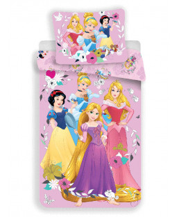 Disney Princess Pink Single Cotton Duvet Cover and Pillowcase Set