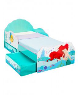 Disney Princess Cama para niños pequeños Ariel con almacenamiento