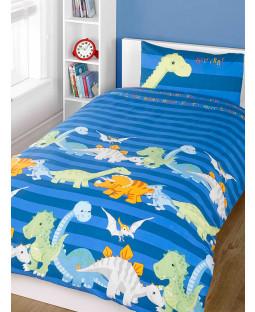 Dinosaurs Double Duvet Cover and Pillowcase Set - Blue
