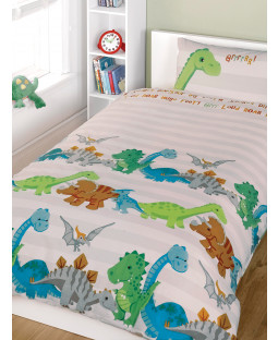 Dinosaurs Single Duvet Cover and Pillowcase Set - Natural