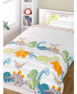 Dinosaurs Natural Junior Duvet Cover and Pillowcase Set