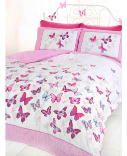 Butterfly Flutter Double Duvet Cover and Pillowcase Set - Pink