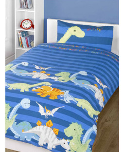 Dinosaurs Blue 4 in 1 Junior Bedding Bundle - Duvet, Pillow, Duvet Cover and Pillowcase