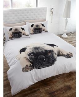 Pug Double Duvet Cover and Pillowcase Set