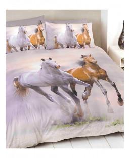 Juego de ropa de cama con funda nórdica King Size de caballos galopantes