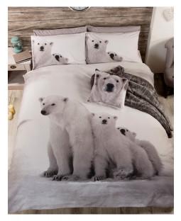 Ensemble de literie pour housse de couette double Polar Bear Family
