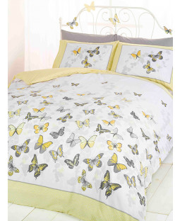 Butterfly Flutter Double Duvet Cover and Pillowcase Set - Lemon