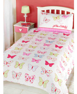 Fly Up High Butterfly 4 in 1 Toddler Bedding Set (Duvet, Pillow and Covers)