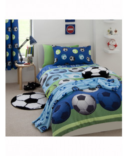 Catherine Lansfield Football Blue Single Duvet Cover Set