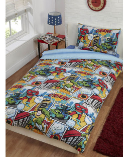 Comic Strip Single Duvet Cover and Pillowcase Set