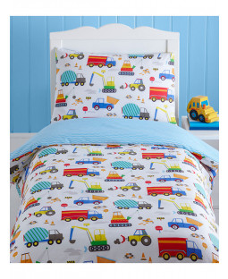 Bright Trucks Junior Duvet Cover and Pillowcase Set