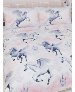 Stardust Unicorn Double Duvet Cover and Pillowcase Set - Lilac and Pink