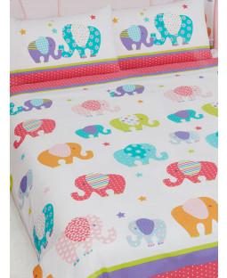 Patchwork Elephant Double Duvet Cover and Pillowcase Bedding Set