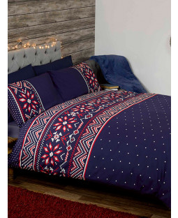 Nordic Christmas King Size Duvet Cover and Pillowcase Set - Blue