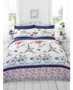 C'est La Vie Paris Red Double Duvet Cover and Pillowcase Set