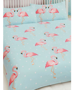 Fifi Flamingo Double Duvet Cover and Pillowcase Set