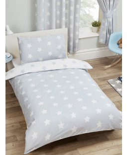 Grey and White Stars Junior Duvet Cover and Pillowcase Set