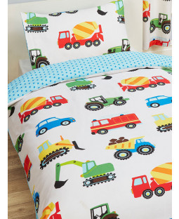Trucks and Transport Single Duvet Cover and Pillowcase Set