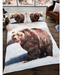 3D Bear Single Duvet Cover and Pillowcase Set