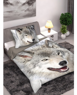 Wolf Single Cotton Duvet Cover and Pillowcase Set
