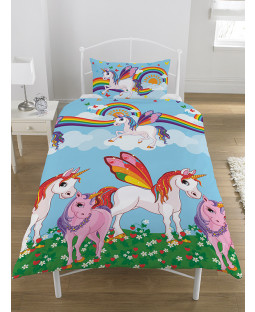 Rainbow Unicorns Single Duvet Cover Bedding Set